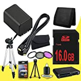 BP-819 Lithium Ion Replacement Battery + 16GB SDHC Class 10 Memory Card + 58mm 3 Piece Filter Kit + Mini HDMI Cable + Full Size Tripod + Memory Card Reader + Memory Card Wallet + Deluxe Starter Kit for Canon Vixia HFG10 XA10 HFS10 HFS20 HFS21 HFS30 HFS100