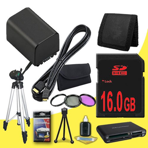 BP-819 Lithium Ion Replacement Battery + 16GB SDHC Class 10 Memory Card + 58mm 3 Piece Filter Kit + Mini HDMI Cable + Full Size Tripod + Memory Card Reader + Memory Card Wallet + Deluxe Starter Kit for Canon Vixia HFG10 XA10 HFS10 HFS20 HFS21 HFS30 HFS100 by DavisMAX