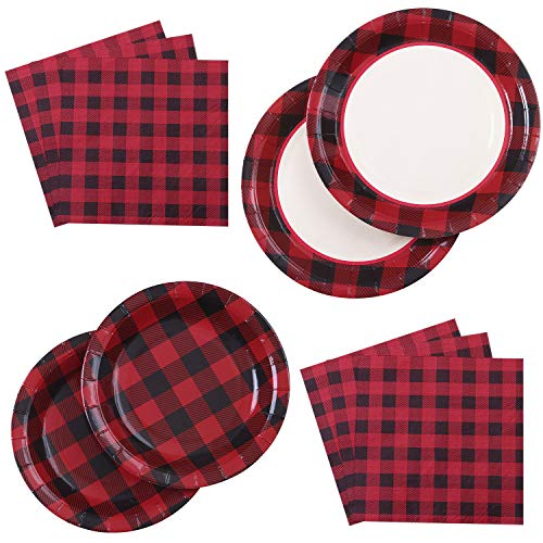Plaid Paper Napkins (Aneco 98 Pieces Red and Black Plaid Party Supplies Party Tableware Paper Plates and Napkins for 24)
