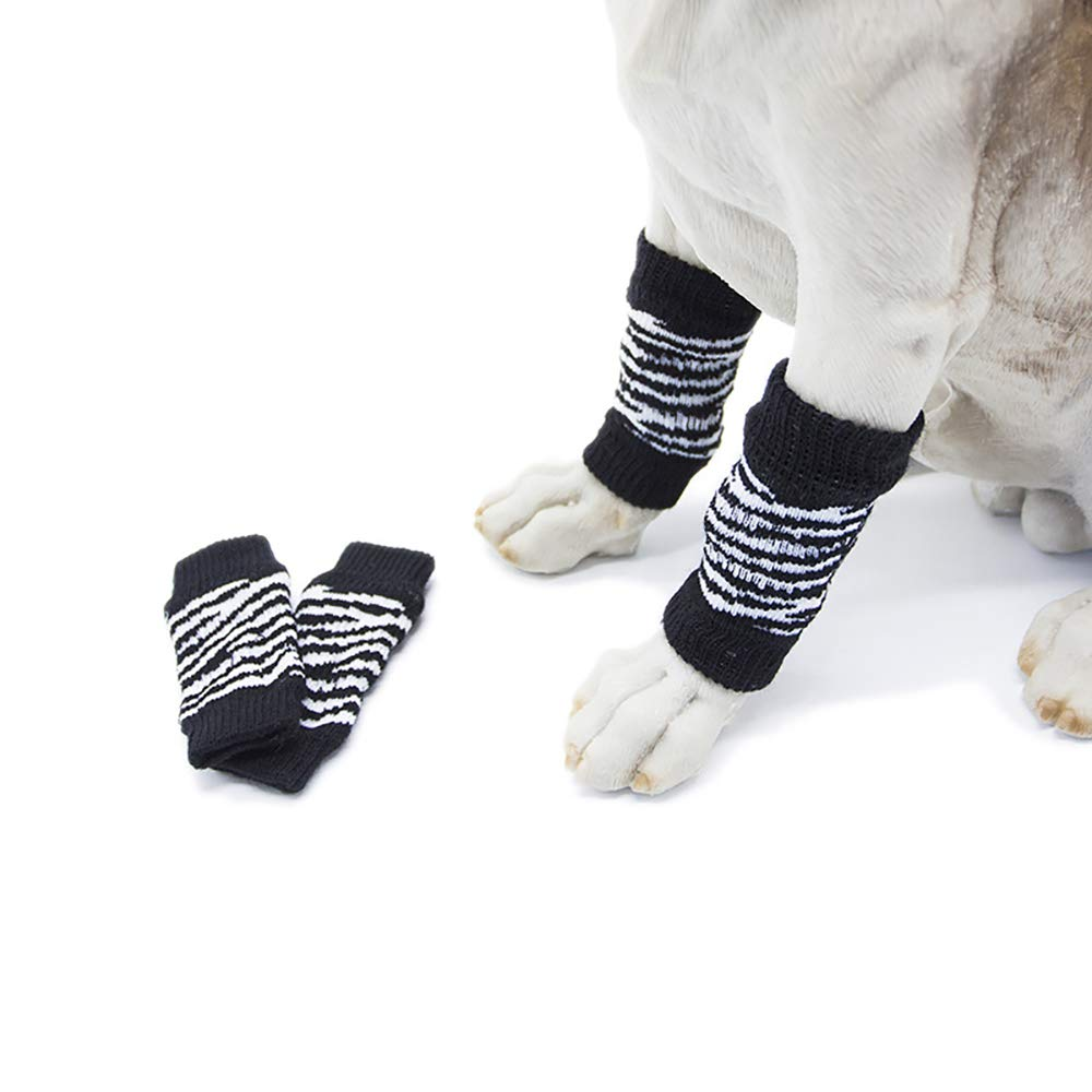 BlackandWhite Medium BlackandWhite Medium Pet Knitted Dog Cat Leg Warmer Hock Predector Winter Warm Pattern Decor Cotton Leg Socks Suitable for Small Medium Dogs Cats,BlackandWhite,M