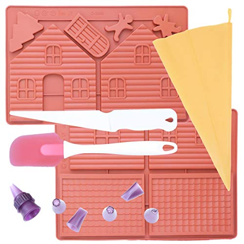 (Oggibox Christmas gingerbread Silicone Mold with Knife, Spatula, 6 size Nozzle and Reusable Silicone Bag for Muffin, Cupcake, Brownie, Cornbread, Cheesecake, Pudding, Jello Shot, Soap and More )