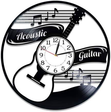 Kovides Acoustic Guitar Birthday Gift Idea Music Vinyl Clock 12 Inch