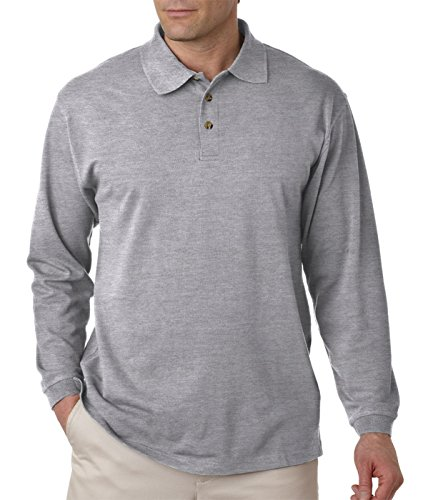 Ultraclub Mens Long-Sleeve Classic Pique Polo 8532 -Heather Grey -