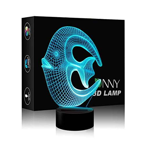Strange Fish 3D LED Night Lamp Desk Lamp 3D Optical Illusion Visualization LED Night Lights Table Lamp 7 Colors Multicolored USB Power for Living Bed Room Bar Best Gift Toys for Boys and Girls ()