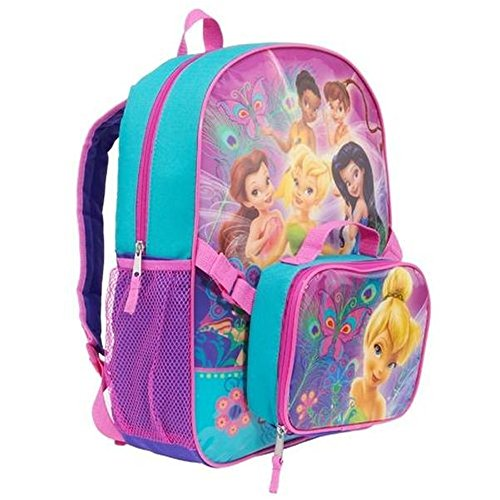 Backpack Graphic Fairy (Disney Fairies Backpacks - Tinkerbell & Friends Girls Backpack with Detachable Insulated Lunch Kit 16 Inch)