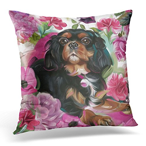 VANMI Throw Pillow Cover Pink King Black and Tan Cavalier Charles Decorative Pillow Case Home Decor Square 20x20 Inches Pillowcase (Black And Tan King Charles Spaniel)
