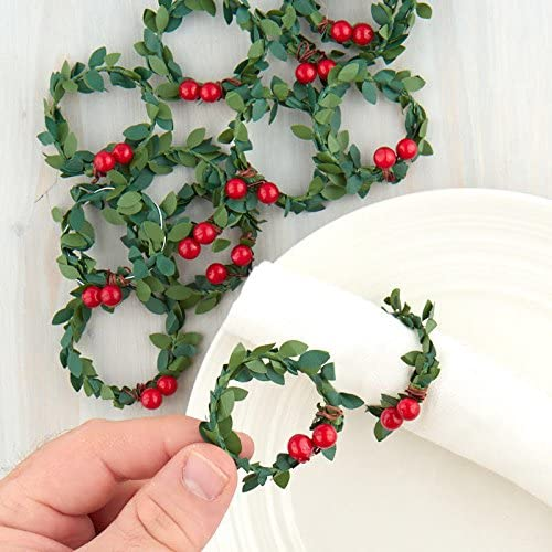 Amazon Com Factory Direct Craft 12 Miniature Artificial Holly Wreaths For Christmas Decor And Crafting Home Kitchen