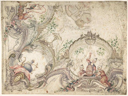 Historic Pictoric Fine Art Print | Italian, 18th Century | Design for a Ceiling Decoration with Chinoiseries | Vintage Wall Art | 20in x 16in