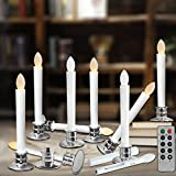 Window Candles With Remote Timers Battery Operated Flickering Flameless Led Electric Candle Lights With Removable Tapers Pillar Candle Holders For Christmas Decorations 10pcs Silver Base