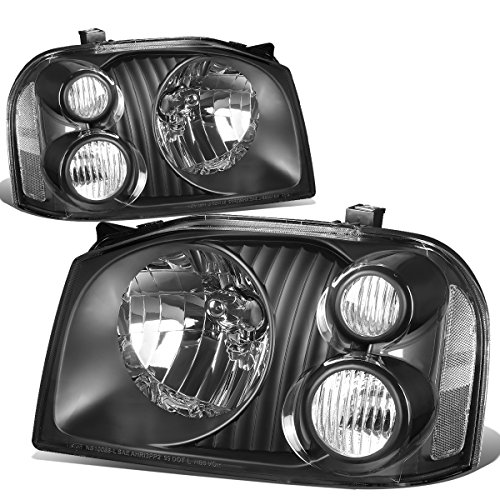 Nissan Headlight Housing (Nissan Frontier D22 Fiera Hardbody Paladin Pair Black Housing Clear Corner Headlight Replacement)