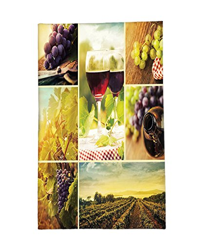 Interestlee Fleece Throw Blanket Collection Rustic Style Collage of Wine Glass Grapes and Vineyard Qualified Harvest Village Picture Art Green - Village Seattle Stores University
