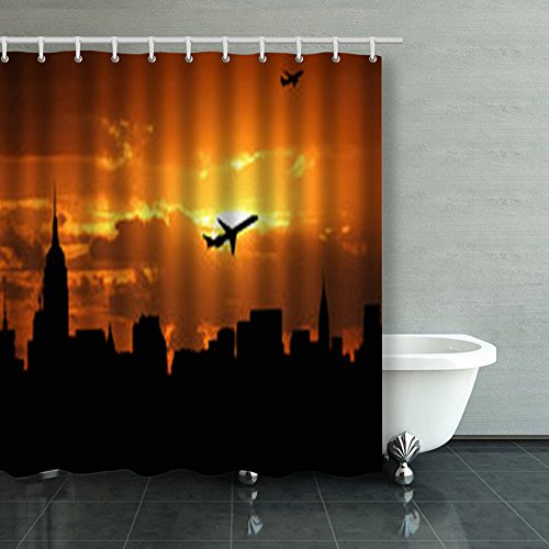 Shower Curtains Planes Departing Midtown Manhattan Sunset Illustration New York Jets 66Wx72L Inches Home Decorative Waterproof Polyester Fabric Bathroom Decor Bath ()