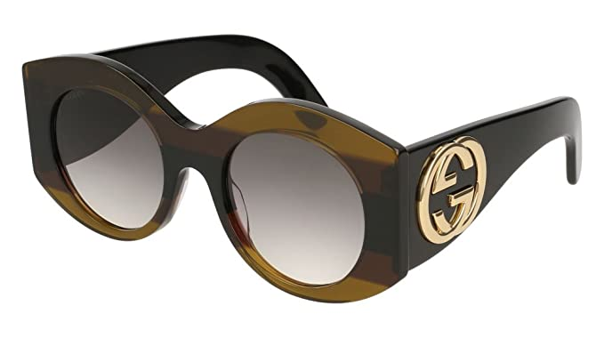 b28b50eb93 Image Unavailable. Image not available for. Color  Gucci Womens Round Oval  Sunglasses GG0177S-30001802-003