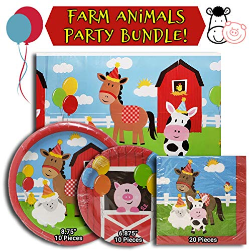Barnyard Birthday Party Bundle, Includes 1 Plastic Table Cloth, 1 Pack of Napkins, and 2 Different Sized Paper Plates All with a Farm Animal Theme]()