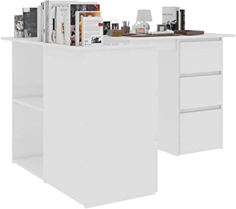Cikonielf Computer Desk PC Laptop Table L-Shaped Corner Desk Computer Workstations Study Table with 6 Drawers and 2 Shelves for Home and Office High Gloss White Chipboard 145x100x76 CM