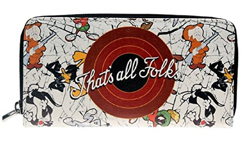 (Looney Tunes Characters Womens Large Zip Around Purse Wallet)