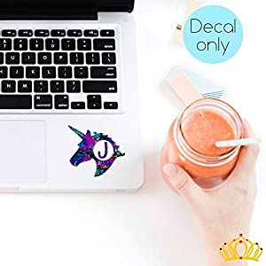 Letter J Monogram Unicorn Decal for Yeti Cup, Tumbler, Laptop, or Car - 3 inch height