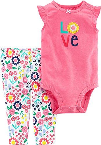 Carter's Baby Girls' 2 Piece Bodysuit Pant Set 3 Months,Multicolor