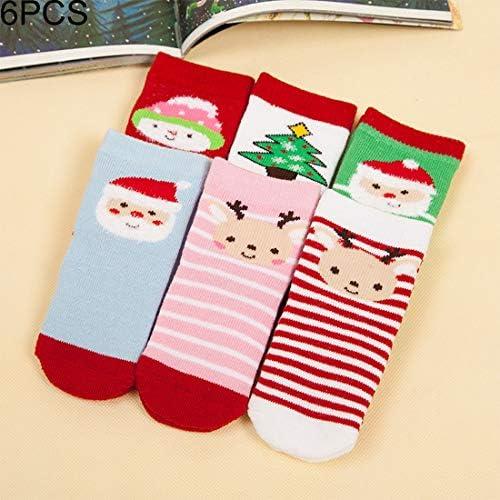 YMF 6ペアクリスマスミニマリストスタイルの子供コットンソックス抗ピーリングの厚さ、足の長さ約:7〜9センチメートル