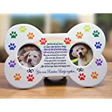 Rainbow Bridge - Dog Bone Shaped Picture Frame with 2 Photo Openings - Sympathy Gift - Pet Loss Gift -Pet Remembrance - Pet Memories