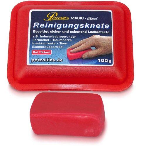 100 Gramm rote Petzoldt's Profi-Reinigungsknete MAGIC-Clean - die scharfe Lackknete zur Lackpflege und Felgenreinigung