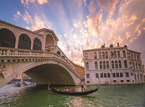 Leowefowa 10X8FT European Archiculture Backdrop Rialto Bridge in Venice Italy Scenic Spot Boat Blue Sky Sunshine Nature Travel Vinyl Photography Background Kids Adults Photo Studio Props