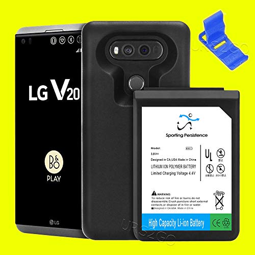 [LG V20 Extended Battery] High Power 10900mAh Li-ion Replacement Extended Battery Back Soft TPU Full Edge Protective Case Cover Folding Bracket for AT&T LG V20 H910 Smartphone