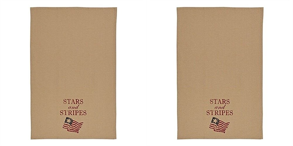 Park Designs Stars And Stripes Print 28 Inches x 18 Inches Cotton Dish Towel Cleaning Dust Cloths Home Accessories Linens