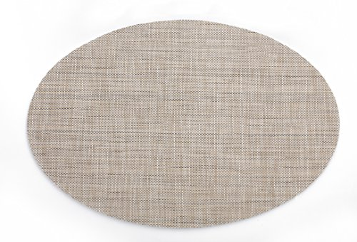 HYSENM 4Pcs Pack Oval Shape Heat Insulation Stain Resistant Washable Woven Table Mats Placemats, flaxen