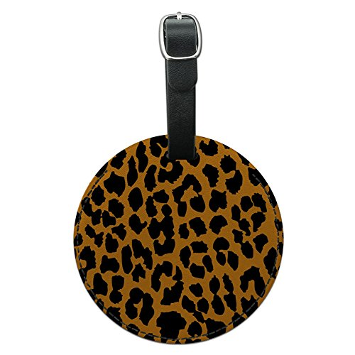 Graphics & More Leopard Print Orange and Black Round Leather Luggage Id Tag Suitcase Carry