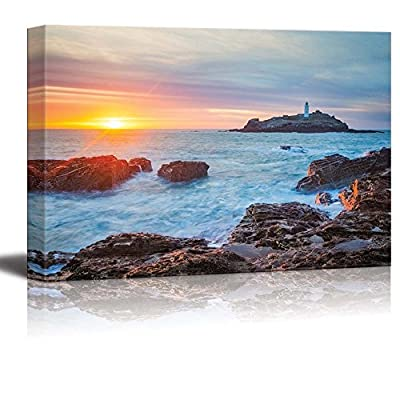 Canvas Prints Wall Art - The Sun Setting on The Horizion with Lighthouse | Modern Home Deoration/Wall Art Giclee Printing Wrapped Canvas Art Ready to Hang - 16