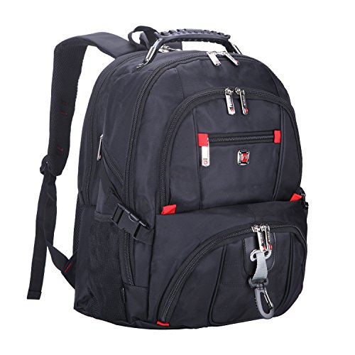 Black Red Gray Notebook Case - AUGUR Travel Laptop Backpack 1200D Oxford Cloth Durable Computer Bag for Men Women Water Resistant Large Capacity Backpacks Fit Most 14-Inch Laptops (Black-Grey AUGUR-02-1)