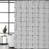 Rustic Shower Curtains Volens Gray/Grey Ruffle Shower Curtain Fabric/Cloth/Rustic Shower Curtains for Bathroom, 72 x 72 inch Long
