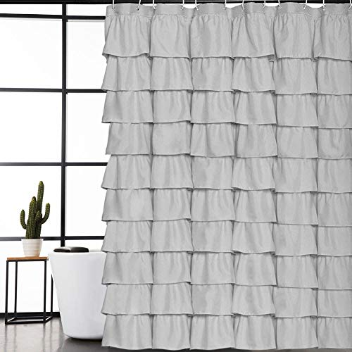 Volens Gray/Grey Ruffle Shower Curtain Fabric/Cloth/Rustic Shower Curtains for Bathroom, 72 x 72 inch Long by Volens