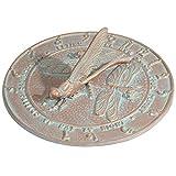 SKB family Garden Sundial - Dragonfly, 12'' x 6'' x 12'' x 9 lbs, Copper Verdi