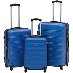 Best Choice Products 3-Piece Hardshell Expandable Luggage Set w/Spinner Wheels - Blue