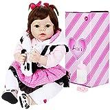 Aori Realistic Reborn Doll 22 Inch Lifelike Handmade Soft Body Toy Weighted Reborn Baby Girl with Panda Set