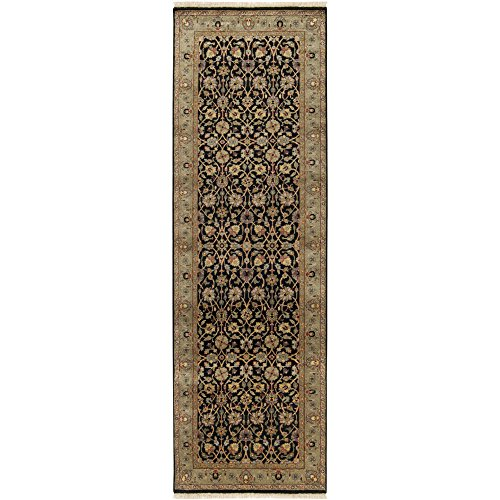 Surya Heirloom HLM-6004 Classic Hand Knotted 100% Semi-Worsted New Zealand Wool Black 3' x 12' Runner