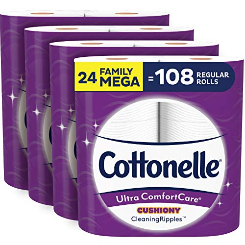 Cottonelle Ultra ComfortCare Soft Toilet Paper with Cushiony Cleaning Ripples, 24 Family Mega Rolls, Bath Tissue (24…