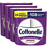 Cottonelle Toilet Paper Bundle – Cottonelle Ultra ComfortCare Toilet Paper, 24 Family Mega Rolls & Cottonelle FreshCare Flushable Wipes, 8 Packs, 42 Wipes Per Pack (336 Wipes Total)