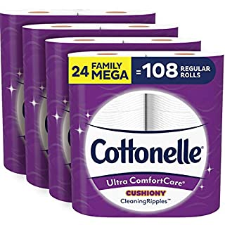 Cottonelle Ultra ComfortCare Soft Toilet Paper with Cushiony Cleaning Ripples, 24 Family Mega Rolls, Bath Tissue