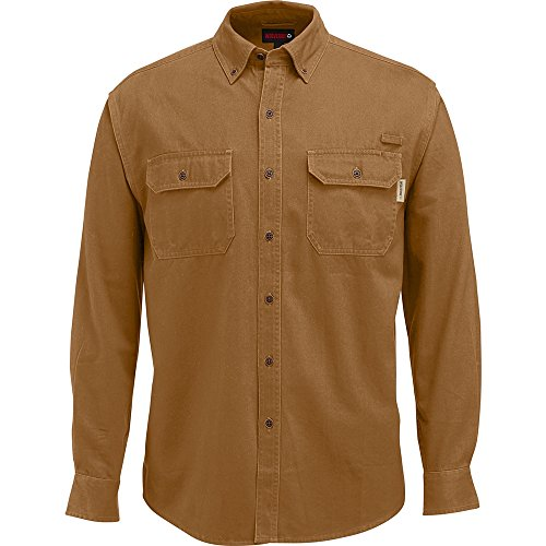 Wolverine Men's Fletcher Soft and Rugged Twill Long Sleeve Shirt, Chestnut, X-Large