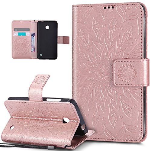 Nokia Lumia 630 Case,Nokia Lumia 635 Case,ikasus Embossing Mandala Flowers Sunflower PU Leather Magnetic Flip Folio Kickstand Wallet Case with Card Slots Case Cover for Nokia Lumia 630/635,Rose - Case Shipping 635 Nokia Free