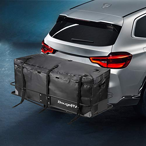 (BougeRV Hitch Cargo Carrier Bag Waterproof/Rainproof Hitch Mount Cargo Bag for Car Truck SUV Vans Hitch Trays and Hitch Baskets (48' L' x 20'' W x 22'' H))