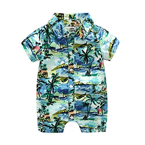 BAOBAOLAI Baby Boy Beachwear Hawaii Style Clothes One-Piece Short Sleeve Button-Down Rompers Bodysuit Playsuit