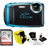 FujiFilm FinePix XP130 Rugged Waterproof WiFi Digital Camera (Sky Blue) + Focus Floating Strap & SanDisk 32GB Card Bundle