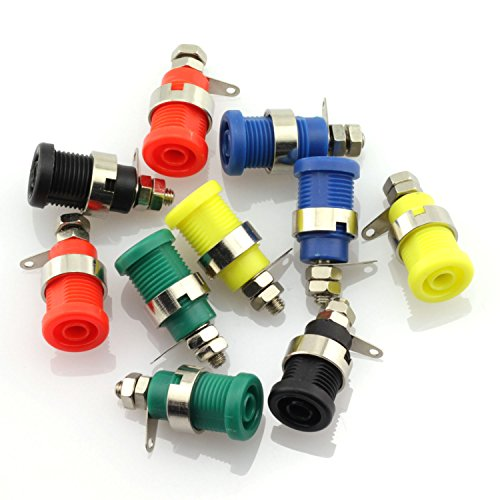 ToToT 10pcs 4mm Banana Socket Professional Screw Safety Protection Binding Post Nut Terminal Blocks Banana Female Plug Jack Connector 5 Colors