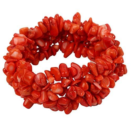YACQ Orange Coral Stretch Cuff Bracelet 5 Layer Braided Chunky Chakra Bracelet Handmade Jewelry for Women Teen Girls ()