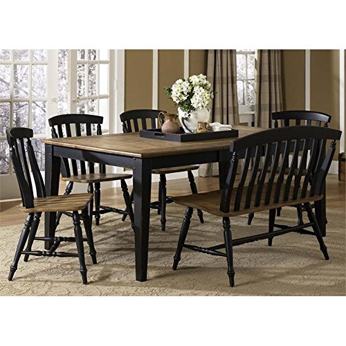 Alfresco Cart - Liberty Furniture Al Fresco II Dining 6-Piece Rectangular Table Set, Driftwood & Black Finish