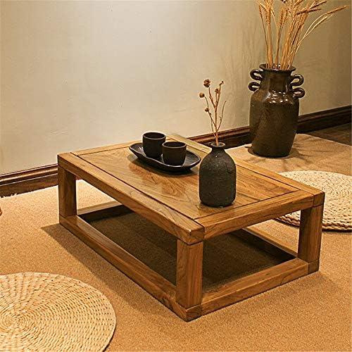 ローテーブル こたつテーブルソリッドウッドテーブルベイウィンドウコーヒーテーブル畳エルムティーテーブル 木製テーブル (Color : Yellow, Size : 60x40x20cm)